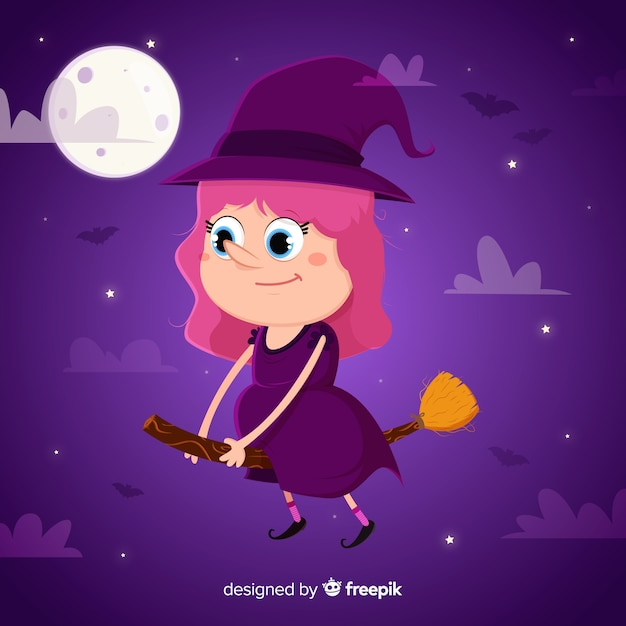 Cute witch halloween background Free Vector