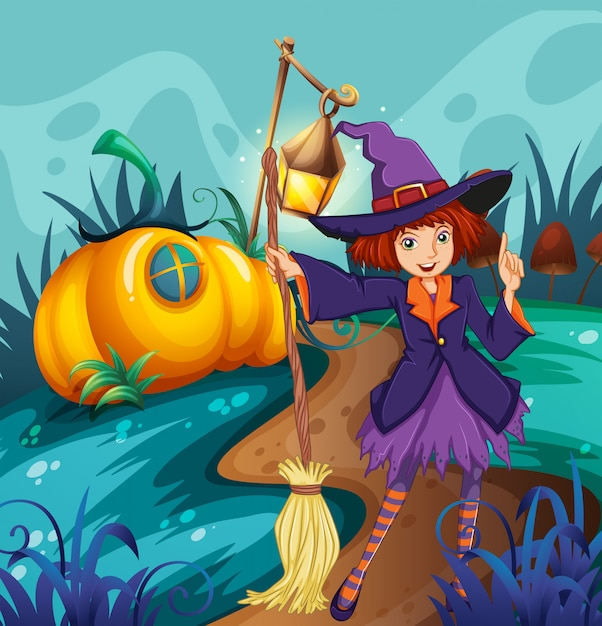 Cute witch and mushroom house Free Vector