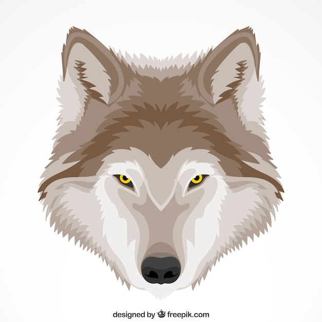 Cute wolf background with yellow eyes Free Vector