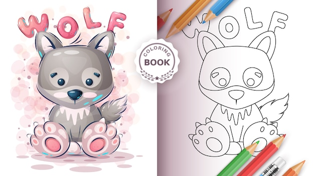 Cute wolf - coloring book for kid and children Free Vector