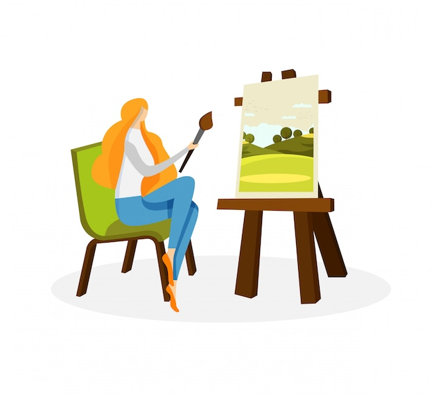 Cute woman artist drawing acrylic paints on canvas Premium Vector
