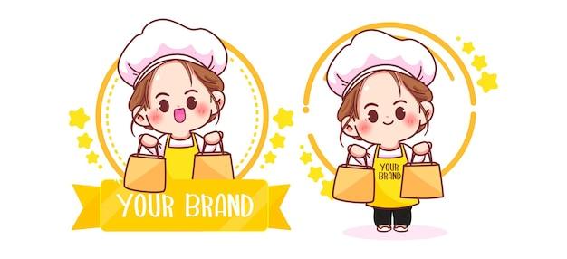 Cute woman chef logo Free Vector