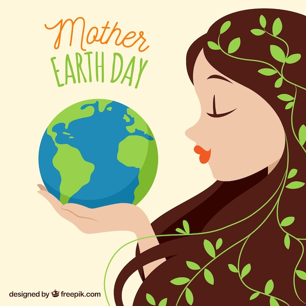 Cute woman holding the planet earth Free Vector