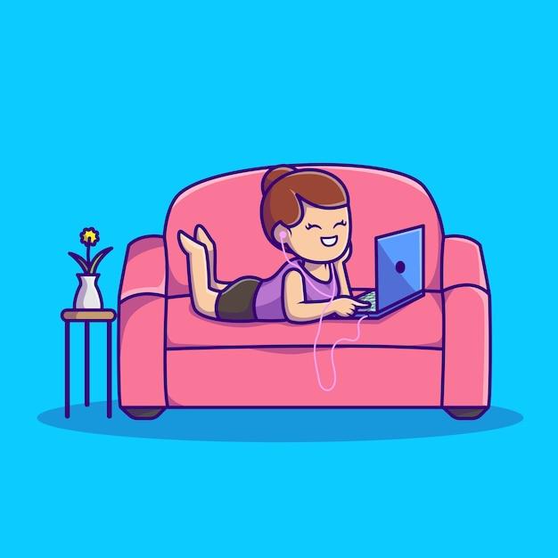 Musica d'ascolto della donna sveglia sul computer portatile con l'illustrazione dell'icona del fumetto del trasduttore auricolare. persone tecnologia icona concetto isolato. stile cartone animato piatto Vettore gratuito