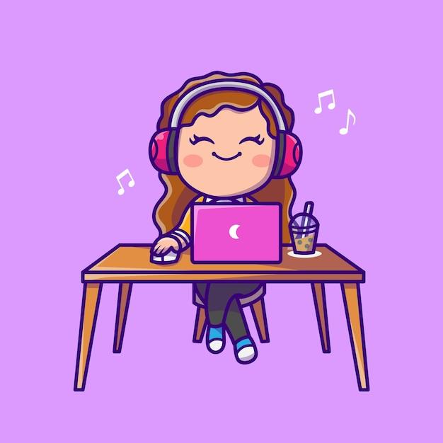 ヘッドフォン漫画アイコンイラストとラップトップで音楽を聞いているかわいい女性。分離された人の技術アイコンの概念。フラット漫画スタイル 無料ベクター