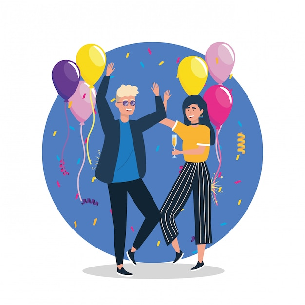 Cute woman and man dancing with balloons Free Vector