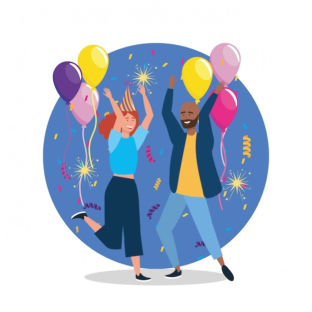 Cute woman and man dancing with confetti decoration Free Vector