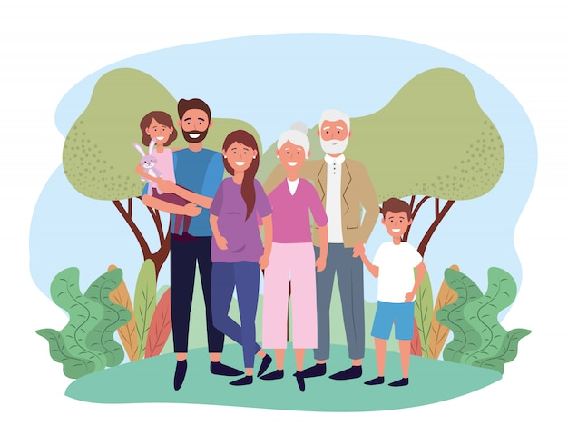Cute woman and man with their kids and parents Premium Vector
