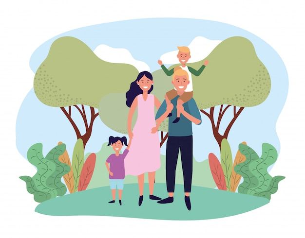 Cute woman and man with their son and daughter Premium Vector