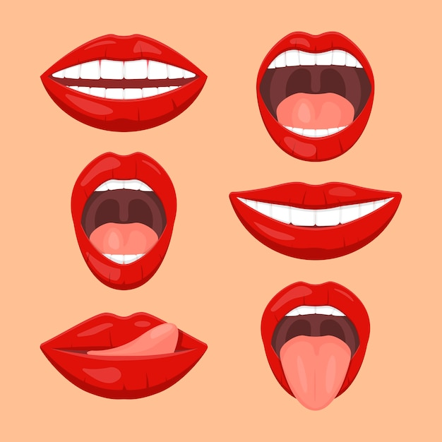 Cute woman mouth set Premium Vector