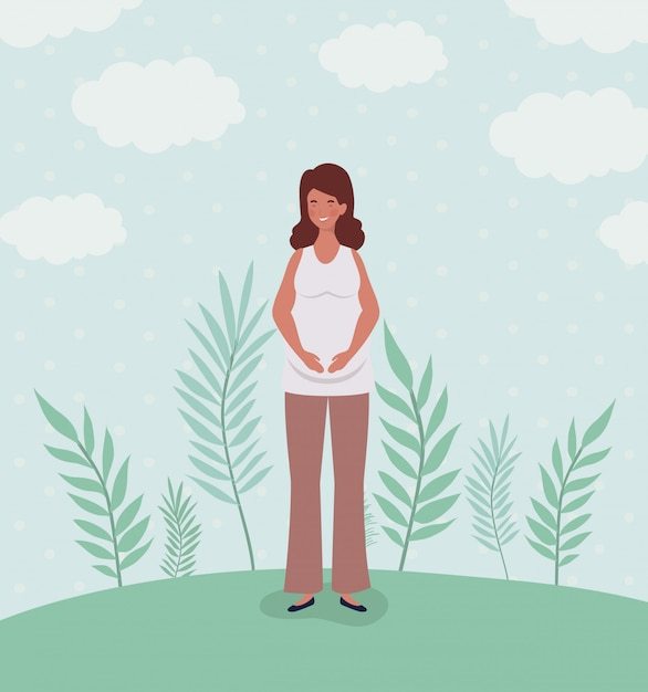 Cute woman pregnancy in the landscape Free Vector