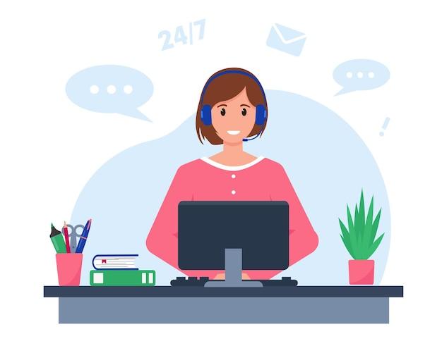 Милая женщина с наушниками, микрофоном и компьютером. Premium векторы