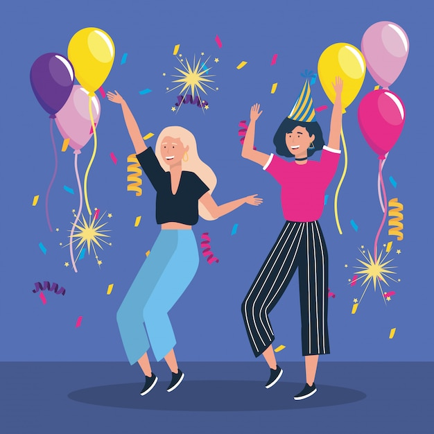 Cute women dancing with balloons and confetti Free Vector