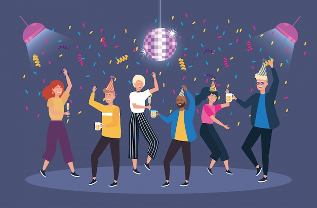 Cute women and men dancing with confetti decoration Free Vector