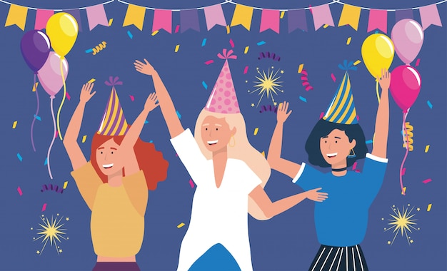 Cute women in party with balloons Free Vector