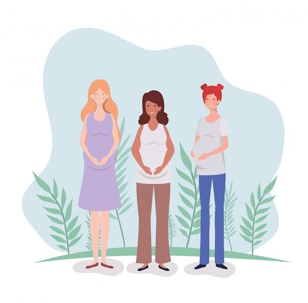 Cute women pregnancy in the landscape Free Vector