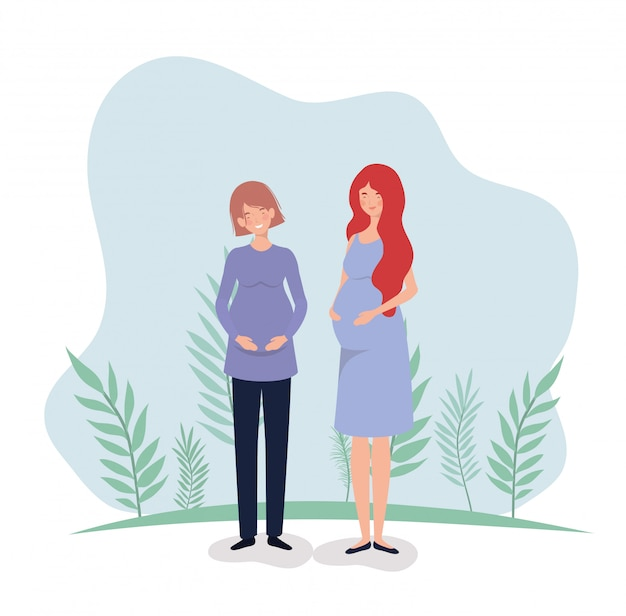 Cute women pregnancy in the landscape Free Vector