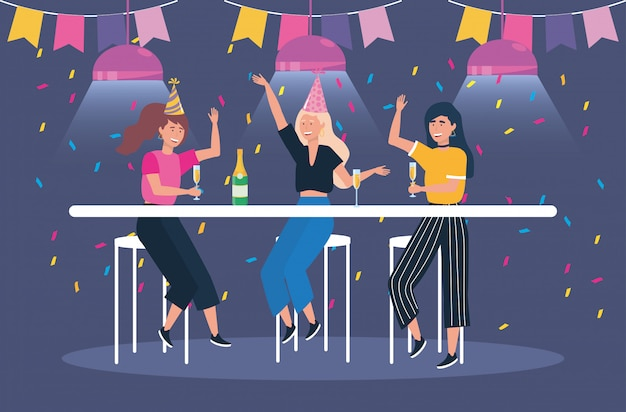 Cute women with champagne and party Free Vector
