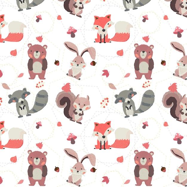 Симпатичные лесные животные осень лиса, бобр, белка, кролик и медведь бесшовный фон Premium векторы