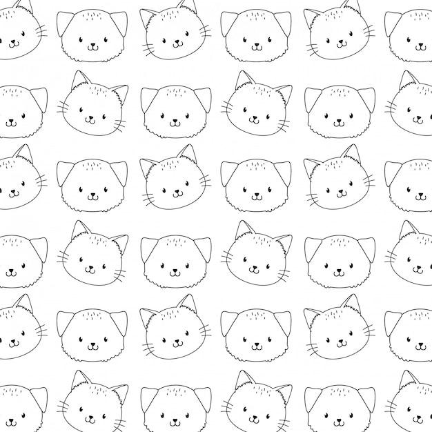 Cute woodland animals characters seamless pattern wallpaper Premium Vector