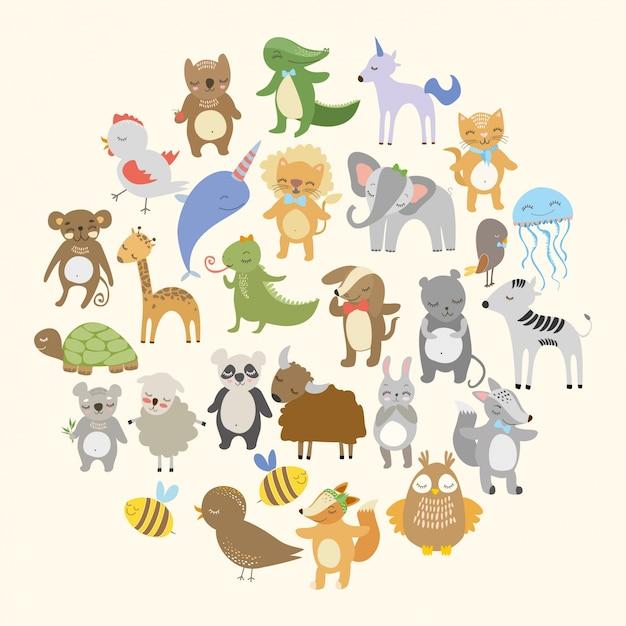 Cute woodland animals Free Vector
