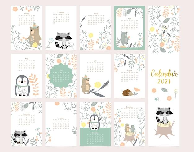 곰, 스컹크, 펭귄, 어린이, 아이, 아기를위한 잎이있는 귀여운 숲 달력 2021 프리미엄 벡터