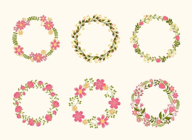청첩장을위한 귀여운 화환 프레임. 꽃과 식물의 고리 버들 무료 벡터