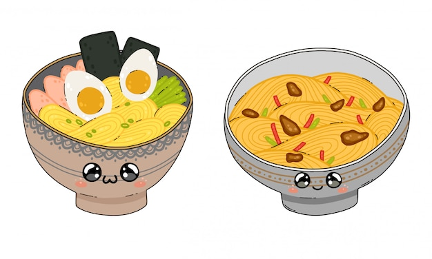 Premium Vector A Cute Yakisoba And Ramen Noodle Soup Bowl In Japan Kawaii Style Isolated On White