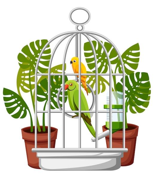 Симпатичный желтый и зеленый попугай иллюстрация Premium векторы