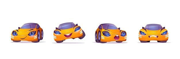 Милый желтый автомобиль персонаж в разных позах Бесплатные векторы