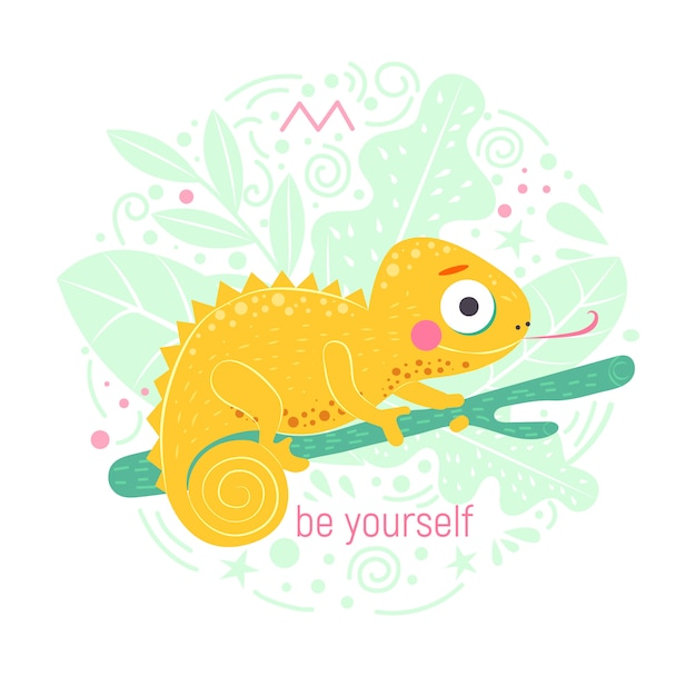 Cute yellow chameleon sitting on the green branch and with word be yourself with light green leaves Premium Vector