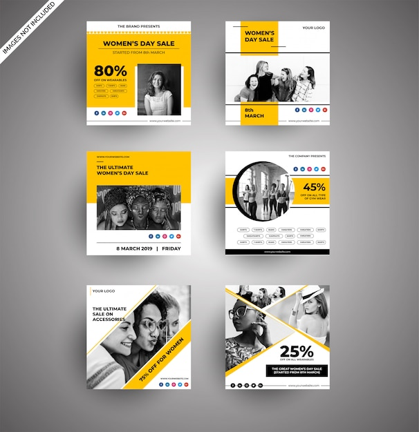 Cute yellow womens day banners collections for social media Premium Vector