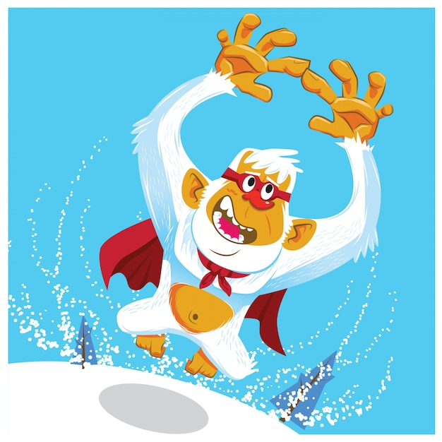 Cute yeti cartoon vector Vector | Premium Download
