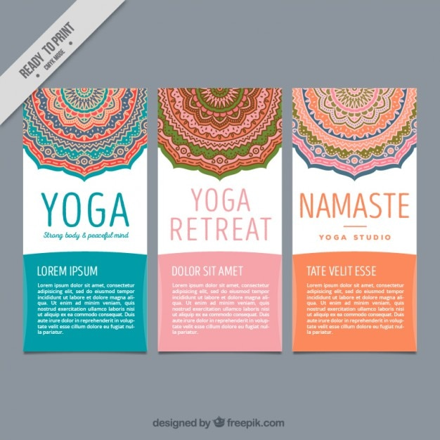 Cute Yoga Flyers With Decorative Mandalas Vector  Premium Download