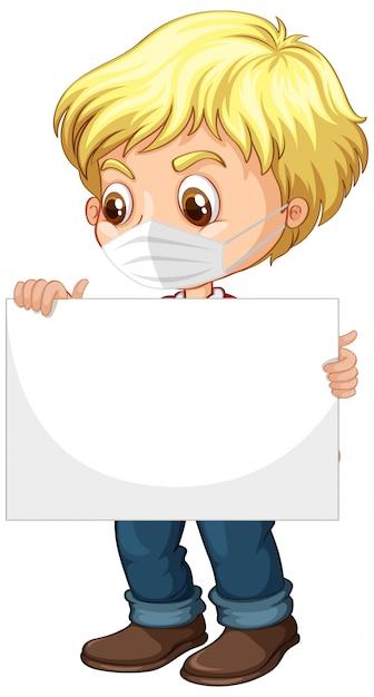 Carattere sveglio del fumetto del giovane ragazzo che tiene bandiera in bianco Vettore gratuito