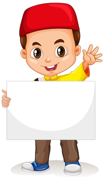 Cute young boy cartoon character holding blank banner Free Vector