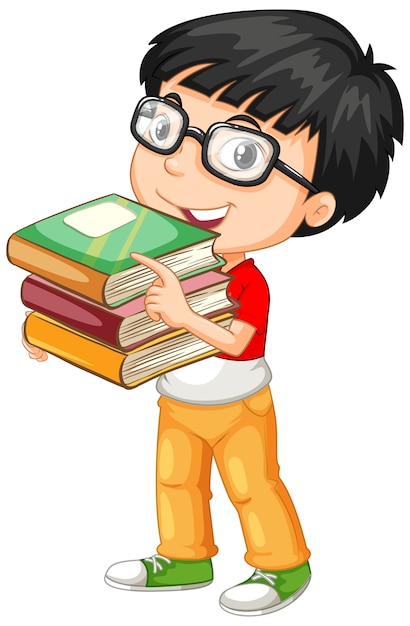 Cute young boy cartoon character holding books Free Vector