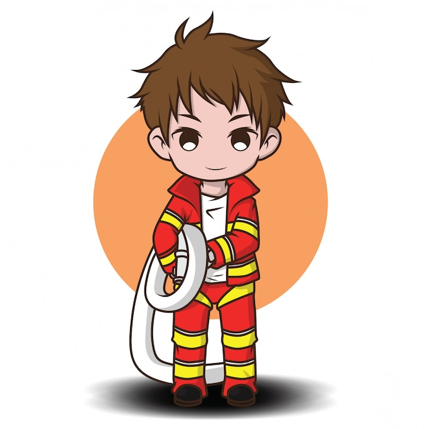 Cute young boy wearing firefighter cartoon Premium Vector