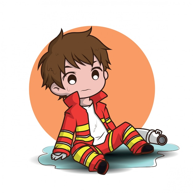 Cute young boy wearing firefighter cartoon Premium Vector