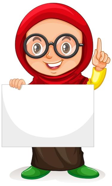 Симпатичная молодая девушка мультипликационный персонаж держит пустой знамя Бесплатные векторы