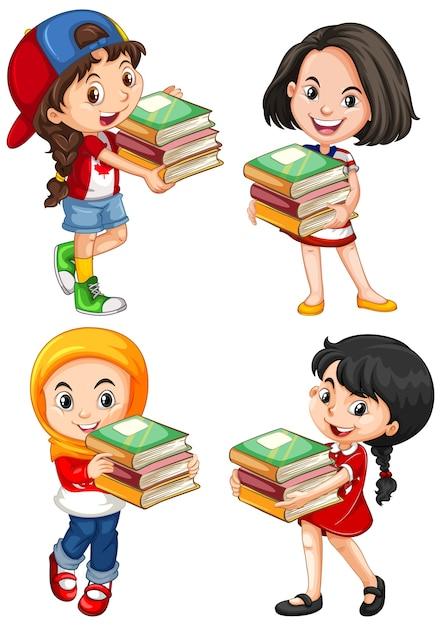 Cute young girl cartoon character Free Vector