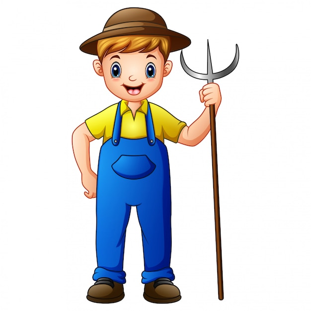 Cute young guy farmer holding pitchfork Premium Vector