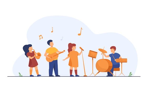 Cute young musicians at school music festival Free Vector