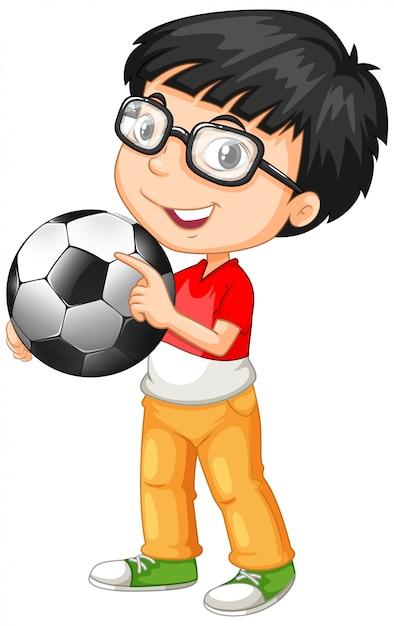 Personaggio dei cartoni animati carino youngboy tenendo il calcio Vettore gratuito