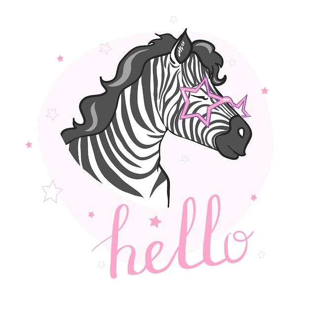 Cute zebra vector illustration Premium Vector