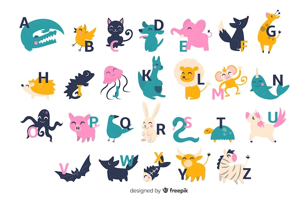 Cute zoo alphabet with cartoon animals isolated on white background Free Vector