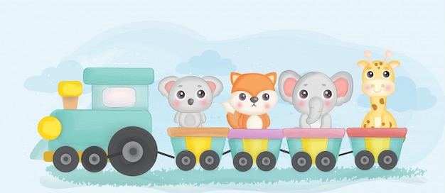 기차에 얼룩진 귀여운 동물원 동물. 프리미엄 벡터