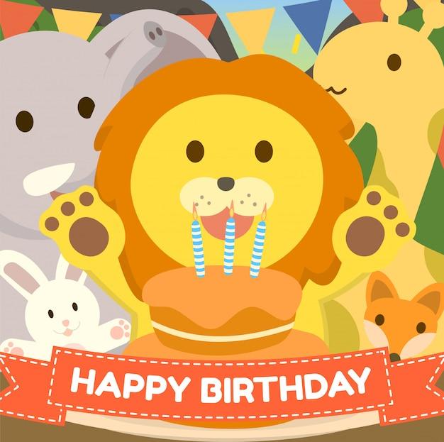 Awe Inspiring Cute Zoo Birthday Cake Greeting Card With Lion Rabbit Elephant Funny Birthday Cards Online Amentibdeldamsfinfo