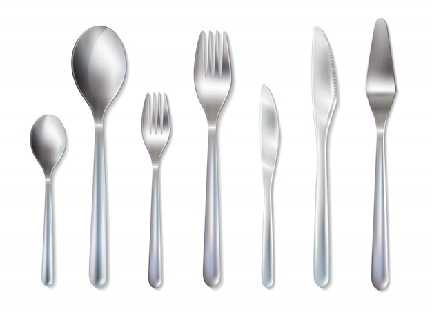 Cutlery reception dinner set realistic image Free Vector