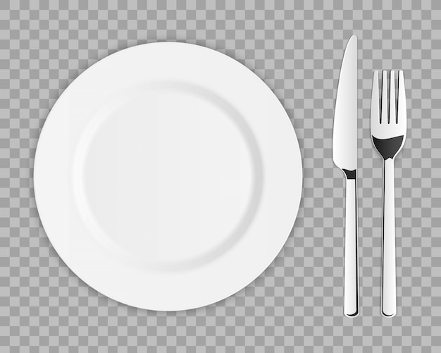 Cutlery set of silver kitchen fork, spoon, knife. Premium Vector